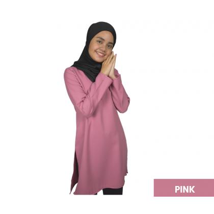 Blouse Muslimah Ironless Top Blouse Labuh (PINK)